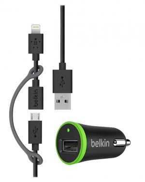 BELKIN CARICATORE PER AUTO 3 IN 1 LIGHTING MICRO USB